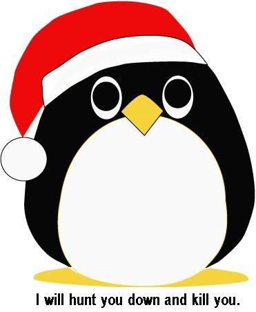 scary santa penguin