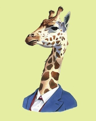 Giraffe wearing clothes